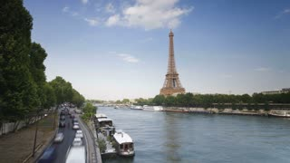 The world famous Eiffel Tower in natural light, Paris, France, Europe, T/Lapse