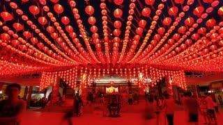 Thean Hou Chinese Temple with illuminated Lanterns, Kuala Lumpur, Malaysia, Southeast Asia, Asia, Time lapse