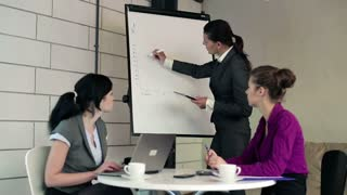 Three businesswoman with flipchart talking in the boardroom