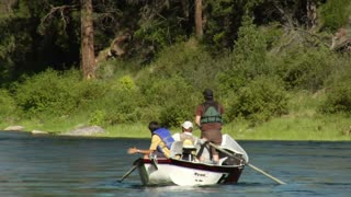 Three Men In Fly Fishing Drift Boat