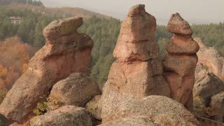 Three Tall Rock Structures in Romanian Countryside