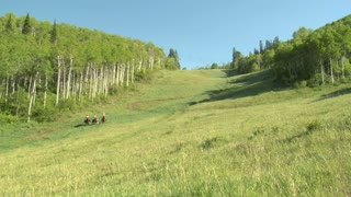 Three Young Women On Horses Gallop Across Green Meadow- Slow Motion