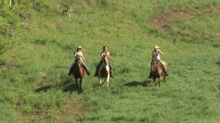 Three Young Women On Horses Gallop Across Green Meadow- Tight Shot