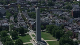 Tight Aerial Shot Of Bunker Hill, Boston