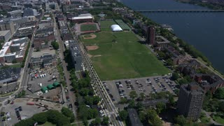 Tilt And Pan Aerial Over Cambridge, Massachusetts