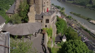 Tilt Up on Schonburg Castle Facing River