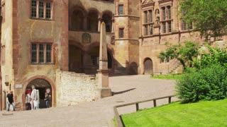 Tilt Up to Flag on Heidelberg Castle Ruins
