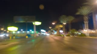 Time Lapse Driving Looking Back at Las Vegas Skyline