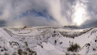Time Lapse fisheye winter landscape