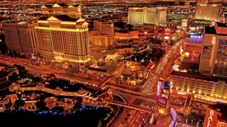 Time Lapse golden night scape of Las Vegas
