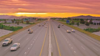 Time Lapse Golden Sunset Road Rush