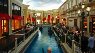 Time lapse Gondolas in the Canals of the Venetian Casino and Hotel on the Strip (Las Vegas Boulevard), Las Vegas, Nevada, United States of America
