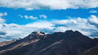 Time lapse high mountain landscape. Spiti Valley, Himachal Pradesh, India