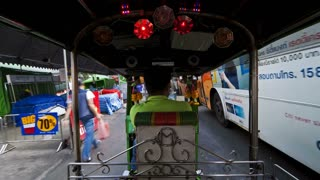 Time Lapse of a Speeding Rickshaw on the busy roads of Bangkok, Thailand, Asia