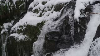 time lapse of rushing waterfall cascading down icy rocks