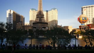 Time lapse of the Bellagio lake and fountains along the Strip (Las Vegas Boulevard), Las Vegas, Nevada, United States of America