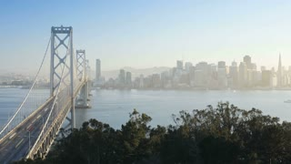 Time lapse of the San Francisco Bay Bridge and City Skyline viewed from Treasure Island, San Francisco, California, United States of America