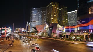 Time lapse of the Strip (Las Vegas Boulevard) at night, Las Vegas, Nevada, United States of America