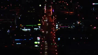 Time-lapse Of Traffic And Colorful Lights At Night