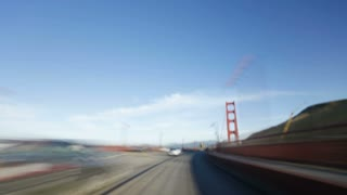 Time lapse Point of view driving over the Golden gate bridge, San Francisco, America, USA