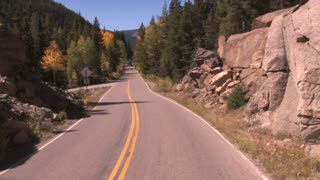 Time Lapse Road Rush Through Aspen Road in Autumn