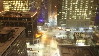 Time Lapse Zoom From Snowy City Streets