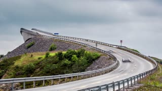 Timelapse Atlantic Ocean Road or the Atlantic Road (Atlanterhavsveien) been awarded the title as