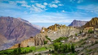 Timelapse Dhankar gompa. Spiti Valley, Himachal Pradesh, India