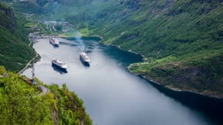 Timelapse, Geiranger fjord, Norway - 4K ULTRA HD, 4096x2304. It is a 15-kilometre (9.3 mi) long branch off of the Sunnylvsfjorden, which is a branch off of the Storfjorden (Great Fjord).