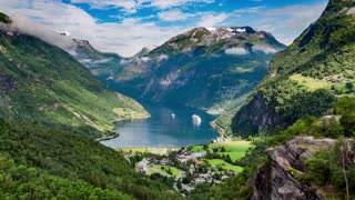 Timelapse, Geiranger fjord, Norway. It is a 15-kilometre (9.3 mi) long branch off of the Sunnylvsfjorden, which is a branch off of the Storfjorden (Great Fjord).