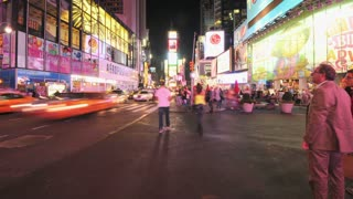Timelapse Hailing Cab Times Square