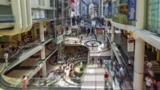 Timelapse inside a Shopping Mall with a Tilt Shift effect