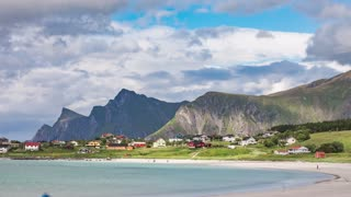 Timelapse Lofoten archipelago islands beach