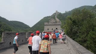 Timelapse of Tourists on Great Wall of China