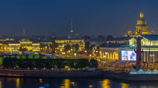 Timelapse over the city of St. Petersburg (Russia) on the feast of Scarlet Sails , view from roof. View of the Exchange Bridge, rastralnye column, St. Isaac's Cathedral