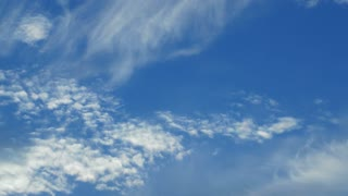 Timelapse shot of clouds floating in the blue sky. The atmosphere full of clean air on sunny day.