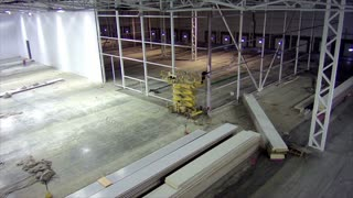 Timelapse stage of walling in large warehouse facility