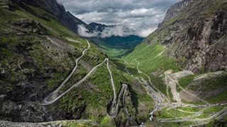 Timelapse Troll's Path Trollstigen or Trollstigveien winding mountain road in Norway.