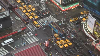 Times Square Intersection on Rainy Day Timelapse 2
