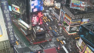 Times Square Intersection on Rainy Day Timelapse