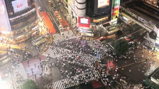 Tokyo centre with the busiest pedestrian crossing in the World in the rain, Shibuya  district Tokyo, Japan