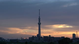 Tokyo Sky Tree Tower At Sunset, Japan