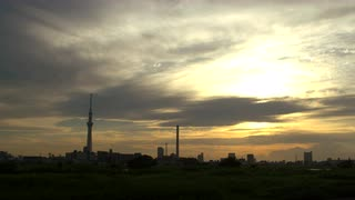 Tokyo Sky Tree, Wide Shot With Dramatic Cloud Coverage