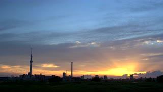 Tokyo Skyline At Dusk Wide Shot