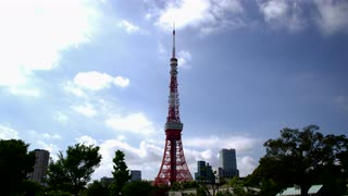 Tokyo Tower Against Brilliant Blue Sky