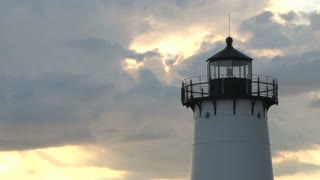 Top of Lighthouse Against Pale Evening Sky