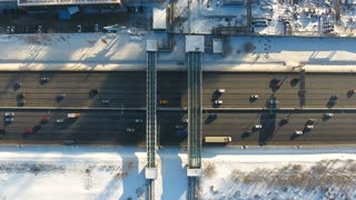 Top view of traffic on a freeway. Aerial