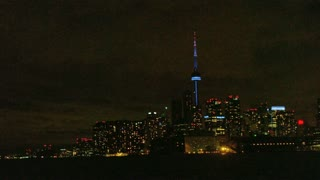 Toronto and CN Tower at Night in Distance