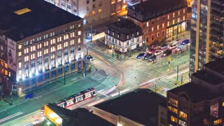 Toronto, Canada, Timelapse  - King & Spadina at Night | 4K timelapse clip of King Street and Spadina Avenue seen from the CN Tower.
