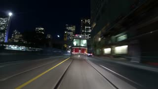 Toronto Streetcar Follow Timelapse. Timelapse shot following a Toronto streetcar through the busy downtown area at night. Rendered in 4K from high quality still photographs.